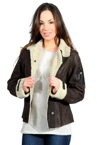 Aeronautica-Militare-Ladies-Leather-Jacket-Aviator-marron-fonce-PN228D1872