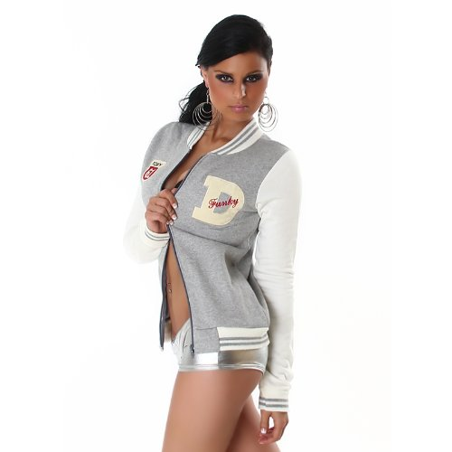 Glee Celebrity style very warm flence inside Naughty college tracksuit jacket sport lady, BOY MEN girls fashion winter spring AUTUM FIT SIZE UK10 grey