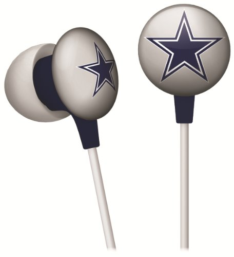 Cheap iHip NFF10200DAL NFL Dallas Cowboys Mini Ear Buds, Blue/Silver