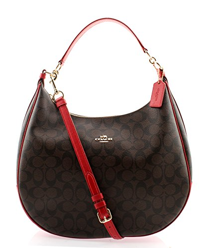 Coach-Harley-Signature-Hobo-Crossbody-Bag-Brown-True-Red
