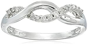 10k White Gold Diamond Infinity Twist Ring (1/6 cttw, I-J Color, I2-I3 Clarity), Size 7