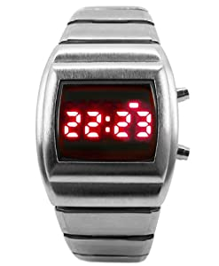 LED Watch - Dark Silver Retro 70s Style Digital Watch - Limited Edition - Collectors Classic Model