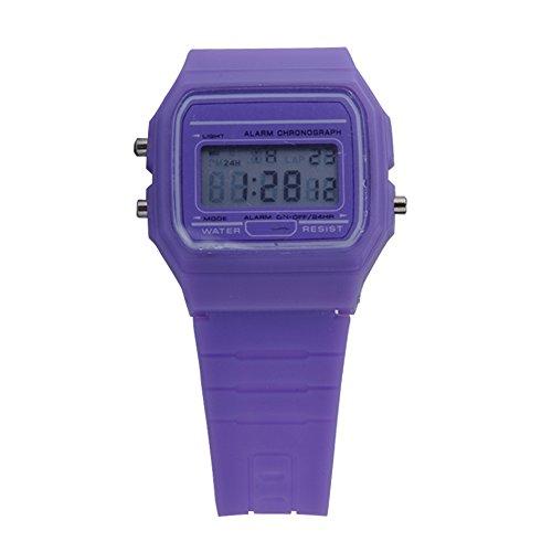 ATOZ Damen Mädchen Mode Gummi Silikon Band Digital Uhren Stoppuhr Armbanduhr (Lila)