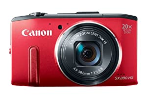 Canon PowerShot SX280 HS 12.1 MP CMOS Digital Camera with 20x Image Stabilized Zoom 25mm Wide-Angle Lens and 1080p Full-HD Video (Red)
