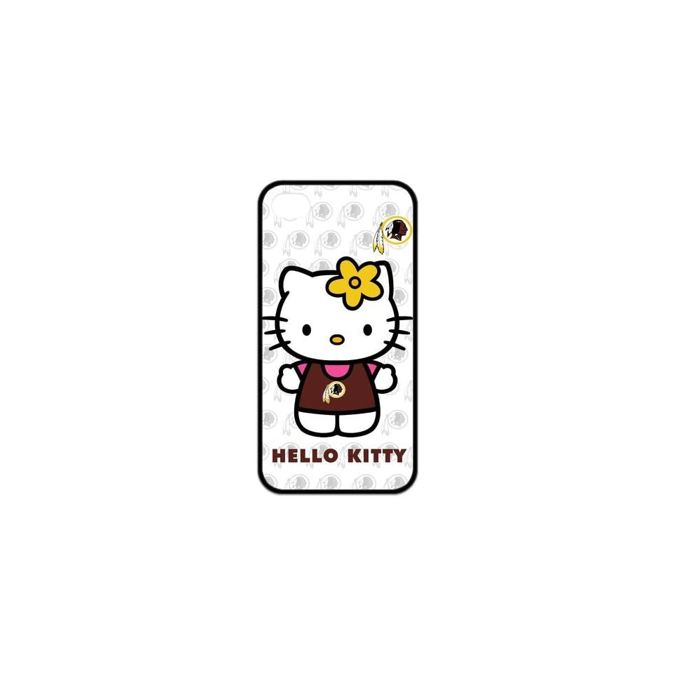 Hello Kitty NFL Washington Redskins Jersey DIY iPhone 4/4s TPU Rubber Case Cover Custom Perfect Design Cell Phones & Accessories