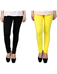 Snoogg Womens Ethnic Chic Inspired Churidar Leggings In Yellow And Black