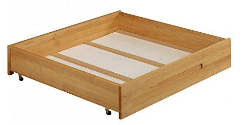 Petit Lina bedbox avec roues 90x100 cm. Alderwood Massive