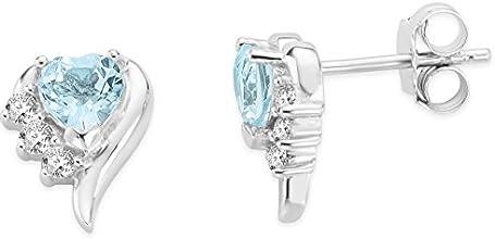 Byjoy 925 Sterling Silver Heart Shape Sky Blue Topaz Stud Earrings BAE406E