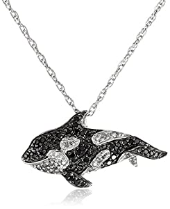 Sterling Silver Black and White Diamond Whale Pendant Necklace (1/3 cttw)