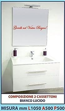 LUISA 48 - Composizione mobile BIANCO LUCIDO 2 cassettoni, lavello ABS, specchiera e lampada led 1050 mm