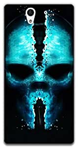 The Racoon Grip printed designer hard back mobile phone case cover for Sony Xperia C3. (skull art)