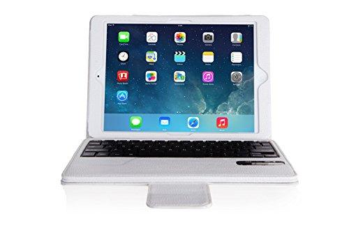 VSTNApple Ipad Air 2 ,ipad air 2 2014専用 脱着式Bluetooth キーボード ケース一体型 良質PUレザーケース付き(Ipad Air 2, ホワイト)