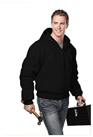 Timberline Cotton Canvas Hooded Work Jacket with Quilted Lining, Color: Black/Black, Size: Small