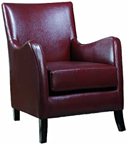 Monarch Specialties Red Leather Look Accent