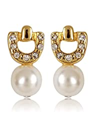 Estelle Gold Plated Drop Earring With Crystals And White Pearl (344703)