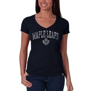 NHL Toronto Maple Leafs V-Neck Scrum Tee, Fall Navy by