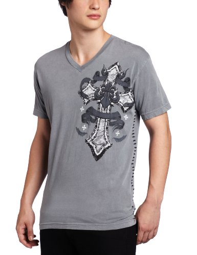Affliction Men's Fast Lane Tee, Silver, Large
