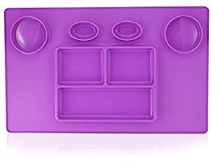 Bellee Silicone Placemat One-Piece Non Slip Silicone Child Kids Safe Baby Food Plate Divided Eating Bowl Tray Placemat - One Size - (Purple) (Color: Purple, Tamaño: 1 Pack)