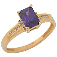 buy 10K Yellow Gold Prong Set Simulated Amethyst Ladies February Birthstone Ring