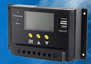 LMS series intelligent solar charge controller 12/24 VDC 30 Amps with LCD display, 2 USB ports and load controler model # LMS2430 from LMS2430