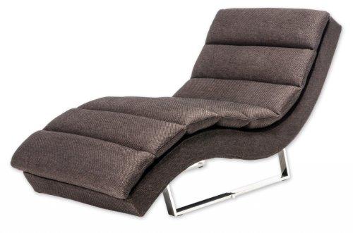 Miraseo MYHHRS63BN Niko Chaiselongues - Relaxliege, hochwertiger Loungestuhl Fernsehsessel in Textil (Stoff), Farbe Braun, edler design comfort TV Liegesessel mit den Maßen: 168 x 73 x 86 cm