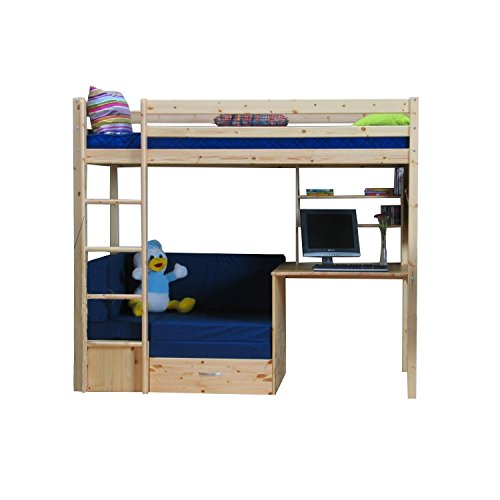 thuka hochbett 90x200 bett natur inkl matratze blau und. Black Bedroom Furniture Sets. Home Design Ideas