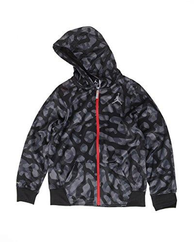 Air Jordan Elephant Print Fleece Hoodie Jacket (L(12-13YRS), Black/Grey)