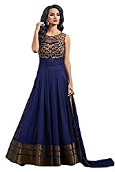 INDIA FASHION SHOP BLUE GOLD EMBROIDERED WORK NET UN-STITCHED DRESS