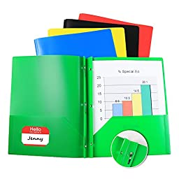 (10 Pack) Two Pocket Poly Portfolio with Prongs, 2 Pocket Plastic File Folder Includes Business Card Slot, 5 Assorted Colors