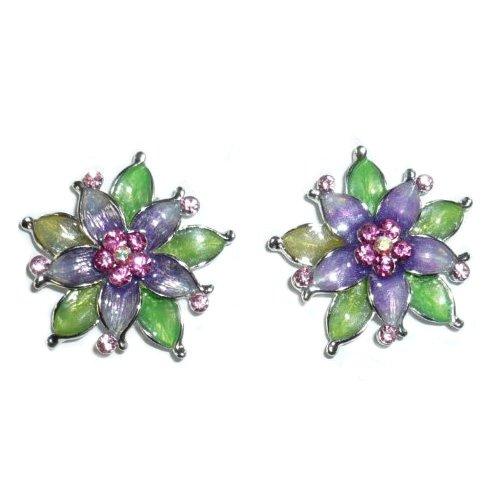 Colorful Enamel Flower Clip on Earrings