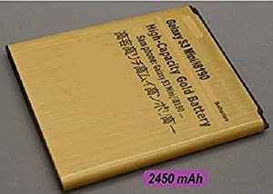 Gold 2450mah High Capacity Battery For Samsung GALAXY S3 S111 SIII Mini i8190 And Also Galaxy Ace 2, i8160, i8190, S7562 - More Power For Your Phone High Capacity Replacement Battery - 2450MAH Uk Seller