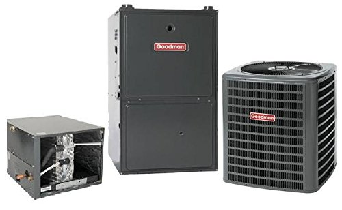 3.5 Ton Goodman 16 SEER R410A 96% AFUE 80,000 BTU Two-Stage Variable Speed Horizontal Gas Furnace Split System (Goodman 16 Seer compare prices)