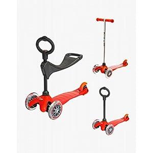 Micro Scooters Mini-trottinette avec siège et guidon à poignée Rouge