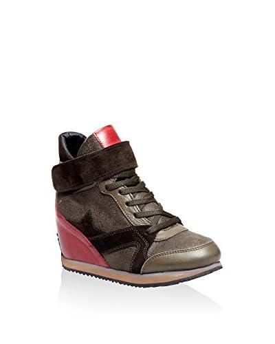 CAPRITO Zapatillas de cuña RD148 Caqui / Rojo