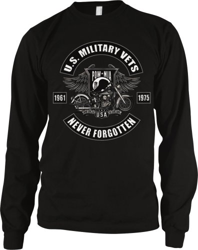 U.S. Military Vets POW MIA Mens Thermal Shirt, 1961-1975 Never Forgotten Motorcycle Design Thermal, Small, Black