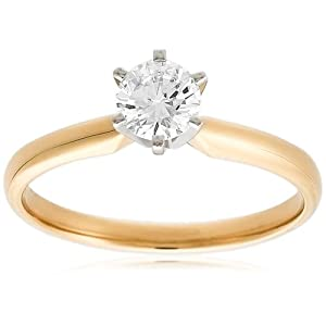 Diamond Engagement Ring 14k Yellow Gold Round Solitaire