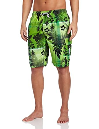U.S. Polo Assn. Men's Plaid Hibiscus Short, Kelly Green, X-Large