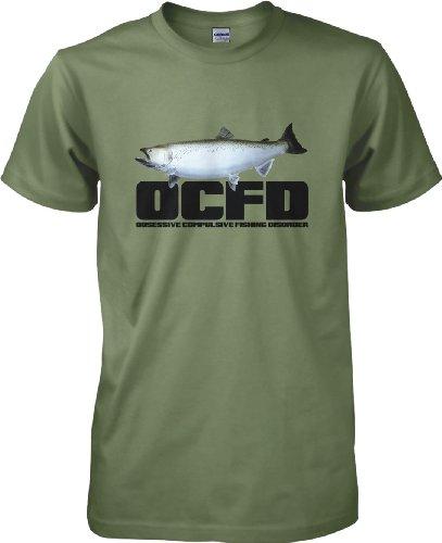 360 pesca OCFD, L'ossessiva bugiardo pesca Disorder-T-shirt da pesca, taglia da S a XXL Verde militare XX-Large