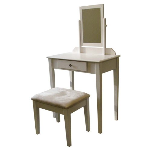 White Vanity With Mirror front-30155