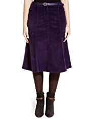 Per Una Cotton Rich Corduroy Flippy Belted Long Skirt