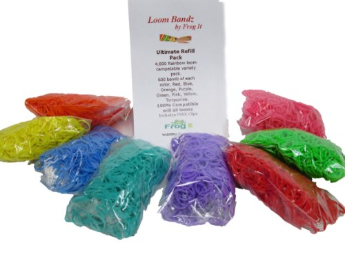 Loom Bandz 4800 Pc Rubber Band Refill Mega Pack with Clips (Rainbow Loom Refill)