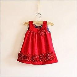 TheTickleToe Girls Terrry Wool Jersey Red Dress 7-8 Years