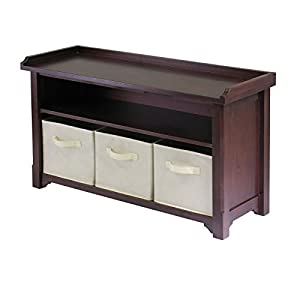 Winsome Verona Storage Bench, Walnut with Fabric Baskets