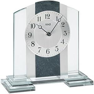 AMS Quarz - Reloj de Mesa Caja de Cristal Mineral con Aplicación de Aluminio aprox. 20 x 21 x 6 cm por AMS