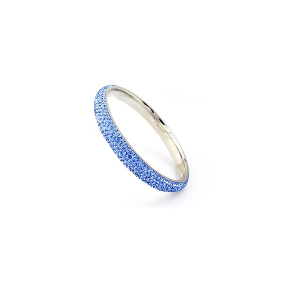 Charm Jewelry Swarovski Crystal Element 18k White Gold Plate Light Sapphire Blue Sparkly Elegant Fashion Bangle Bracelet Z#373 Zg4fc09a