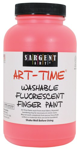 Sargent Art 22-9620 16-Ounce Art Time Washable Fluorescent Finger Paint, Red