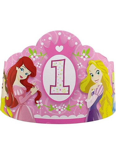 Disney Princess 1st Birthday Party Hats (8-Pack)