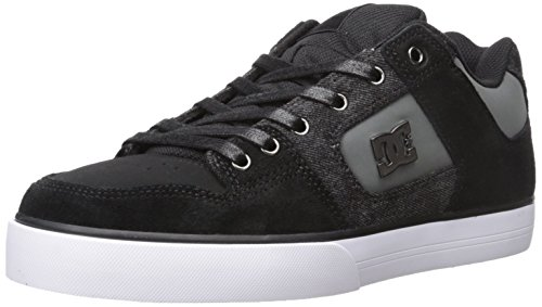 DC Men's Pure SE Skate Shoe, Black Destroy Wash, 12 M US
