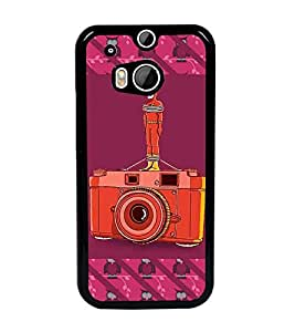 PrintDhaba Camera D-3259 Back Case Cover for HTC ONE M8s (Multi-Coloured)