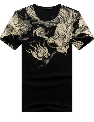 Sslr Men'S Crewneck Chinese Dragon Elastic T Shirt (Small, Black)